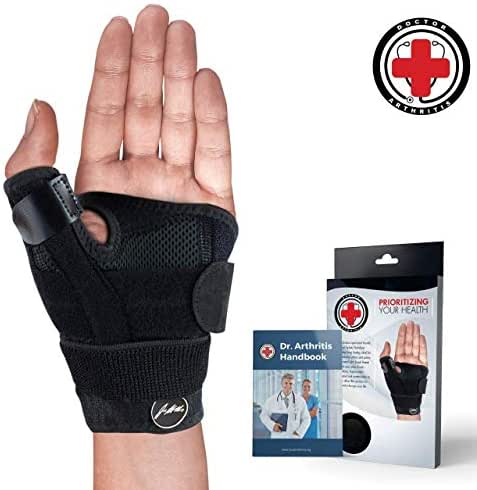 Doctor Developed Thumb Brace/Thumb Support/Thumb Splint/Thumb Stabilizer & Doctor Written Handbook - Fully Adjustable to Fit Any Thumb & Wrist on Both Right & Left Hands [Black, Single]