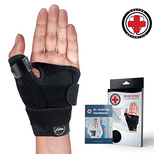 (Doctor Developed Thumb Brace/Thumb Support/Thumb Splint/Thumb Stabilizer & Doctor Written Handbook - Fully Adjustable to Fit Any Thumb & Wrist on Both Right & Left Hands [Black, Single])