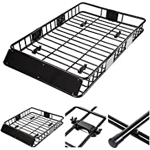 "Yescom Universal 64"" Roof Rack Car Top Cargo Basket Carrier with Extension Luggage Holder"