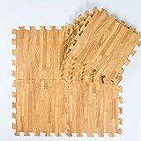 Jim Hugh Baby EVA Foam Play Puzzle Mat /9Pcs Wood Interlocking Floor Mat,Each 30Cmx30Cmx1Cm=12''X12'' X3/8''