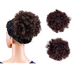 SWACC Afro Puff Drawstring Ponytail Kinky Curly Afro Clip on Updo Chignon Bun Hair Piece Extensions for African American Women Medium Size (Light Auburn Brown)