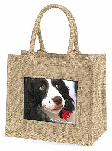 Advanta ad-ss74lymbln Springer Spaniel Dog Love You Mum Große Einkaufstasche/Weihnachten Geschenk, Jute, beige/natur, 42x 34,5x 2cm