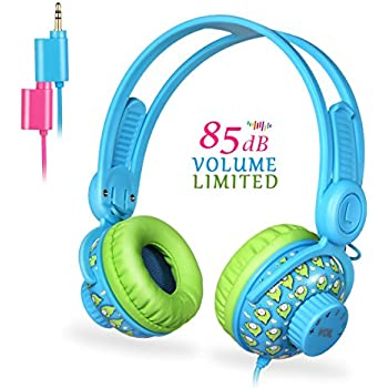 Kids Headphones for Girls, EasySMX 3.5mm Comfortable Over-Ear Headsets (Blue-New Version)