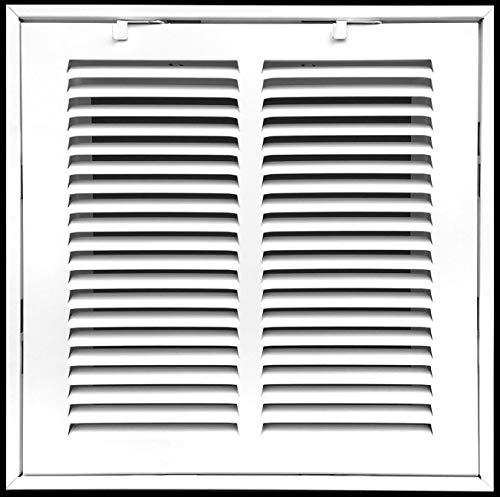 "12"" X 12"" Steel Return Air Filter Grille for 1"" Filter - Fixed Hinged - Ceiling Recommended - HVAC Duct Cover - Flat"" Stamped Face - White [Outer Dimensions: 14.5 X 13.75]"