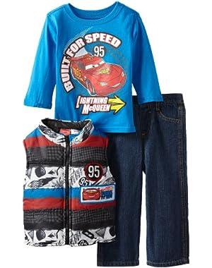 Disney Baby Boys' Three Piece Cars Vest and Pant Set