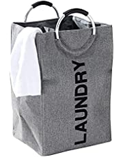 Myconvoy Laundry Hamper,Portable Folding Large Laundry Hamper Bag With Handles,Double Laundry Basket Suitable For Washing Storage, Are Great For The Kids Room College Dorm Or Travel (Gray)