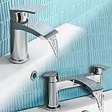 iBathUK | Chrome Basin Sink Mixer Tap + Bath Filler Bathroom Faucet Set TP456