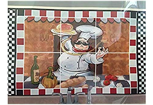 Fat Happy Chef Foil Backsplash Wall StickerWindow Mural for Nursery Kitchens Dorms Living Rooms Kitchen Office Wall Stickers177 in 45 cm x 75 cm Autocollant Mural