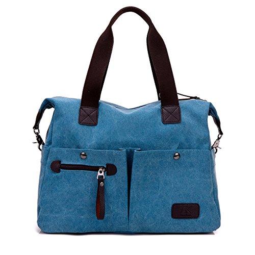 Lonson Unisex Large Capacity Multiple-pockets Shoulder Bag with Removable Strap Blue One Size