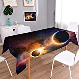 L-QN Decorative Square Tablecloth Decor Planet in Milky Way Dark Nebula Gas Cloud Celestial Solar Eclipse Galaxy Tablecloth Stain Resistant 60''x84''