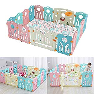 Bshop 6.56 x 5.25 x 1.97 ft Baby Playpen Castle Infant – 16 Colourful Panels – with Doors Panel & Interactive Play Panel