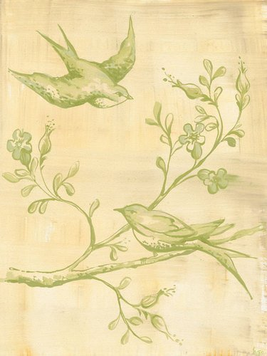 Oopsy Daisy Toile Birdies Green Stretched Canvas Wall Art by Heather Gentile-collins, 18 by 24-Inch