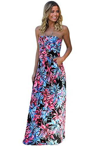 (Queen Area Womens Navy Black Neon Pink Tropical Print Strapless Maxi Dress Boho Long Dress With Pockets (US 16-18)XL)