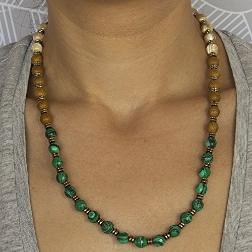 Malachite and Mother of Pearl Beaded Unisex Gemstone Necklace, Adjustable Length, Free Expedited Shipment