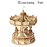 Robotime Carousel Puzzle Toys Girls 8 Years Old Up - Laser Cutting 3D Wooden Puzzle Birthday