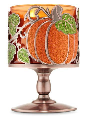 Bath and Body Works Pumpkin Vine Pedestal 3 Wick Candle Holder Sleeve Orange and Green (Holder Candle Sleeve)