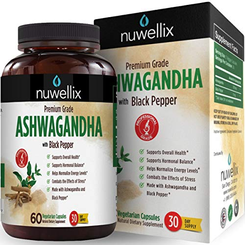 Nuwellix Ashwagandha Capsules with Black Pepper Extract - 1300mg, Natural Supplement Supports Anxiety and Stress Relief - Promotes Energy Level - 60 Vegetarian Capsules