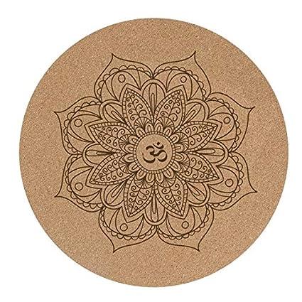 YOOMAT 3MM Round Cork Yoga Cushion Mandala Yoga Mats Natural ...