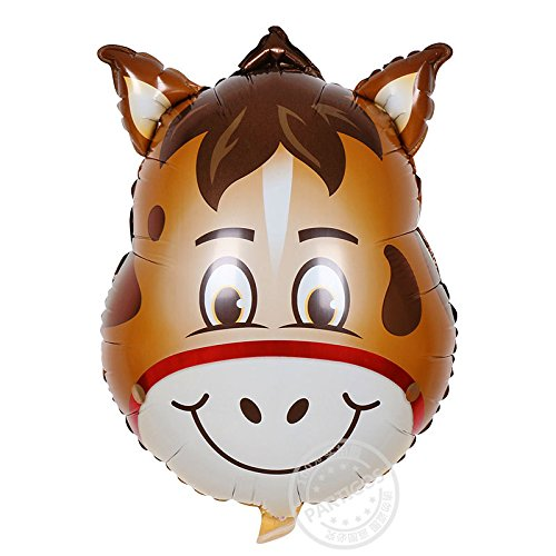 Zehui Party Decoration Balloons ,Children Lovely Cartoon Animals Little donkey Head Balloon for Kids Play Aluminum Film Birthday Party Decoration Balloons