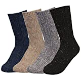 TETIBA Women's Winter Premium Soft Thick Knitting Wool Warm Crew Socks 1 to 4 pack, Size 5 to 9 (4 Pack_each 1 Color)