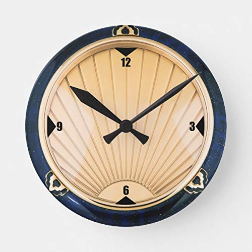 OSWALDO Art Deco Style Decorative Round Wooden Wall Clock - 12 inch ()