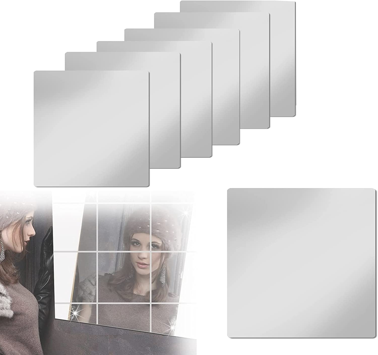 6 Pcs Flexible Mirror Sheets, Non Glass Self Adhesive Mirrors Tiles Mirror Stickers for Home Wall Decor(12 x 12 Inch)