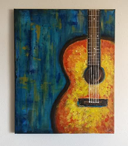 guitar painting on stretched canvas guitar abstract painting colorful guitar. Black Bedroom Furniture Sets. Home Design Ideas