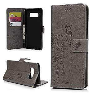 MOLLYCOOCLE Galaxy Note 8 Case, Embossed Ant Flower Flip Magnet Premium PU Leather Soft TPU Bumper Wallet Case Card Slots Protective Cover for Samsung Galaxy Note 8, Gray