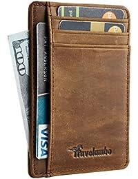 Front Pocket Minimalist Leather Slim Wallet RFID Blocking Medium Size