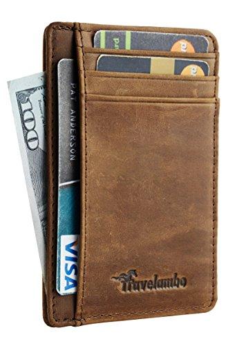 Travelambo Front Pocket Minimalist Leather Slim Wallet RFID Blocking Medium Size(crazy horse khaki)