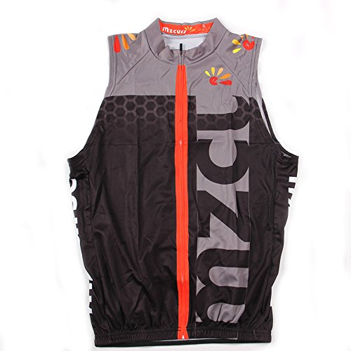 (mzcurse Men's Sleeveless Wind Vest Cycling Jersey Shirt Bicycle Bike Tees (Grey, XX-Large,Please Check The Size Chart))