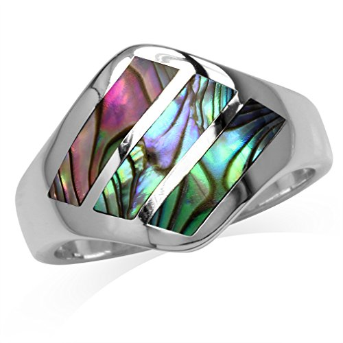 3-Stone Abalone/Paua Shell Inlay White Gold Plated 925 Sterling Silver Ring Size 7 ()