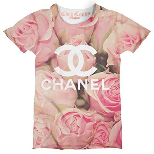 Floral Pink Rose Designer Printed Unisex T Shirt by Chain Candy