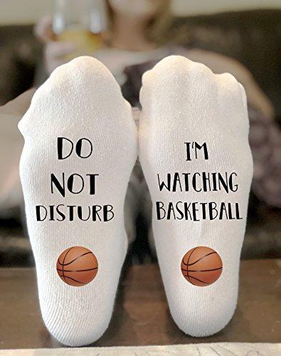 Do Not Disturb I'm Watching Basketball Socks Novelty Funky Crew Socks Men Women Christmas Gifts Cotton Slipper Socks by California Social Hour