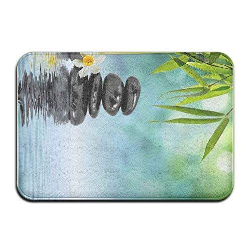 - Black Stones Flower Bamboo Home Door Mat Super Absorbent Antislip Front Floor Mat,Soft Coral Memory Foam Carpet Bathroom Rubber Entrance Rugs for Indoor Outdoor
