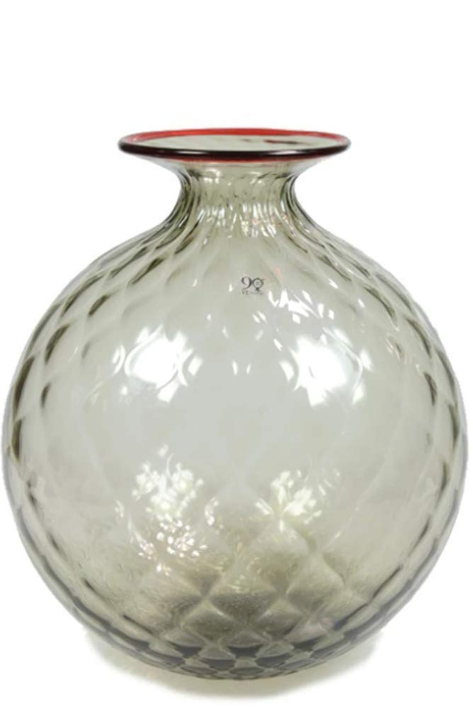 Venini Monofiori Balloton Vaso grande XL acquamare filo rosso