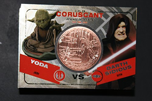 2015 Star Wars Chrome Perspectives Jedi vs. Sith Trading Cards Bronze Medallion Yoda vs. Darth Sidious CORUSCANT Fight Poster Version