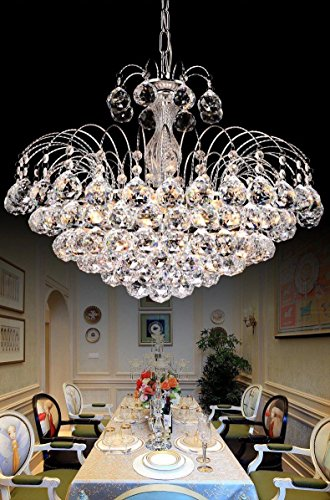 Dst Modern Crystal Chandelier Clear Genuine 6-Lights Ceiling Light Rain Drop Light Height 42cm Dimmer 45cm Chain 60cm for Hallway, Dining Room, Living Room, Bedroom Study Room