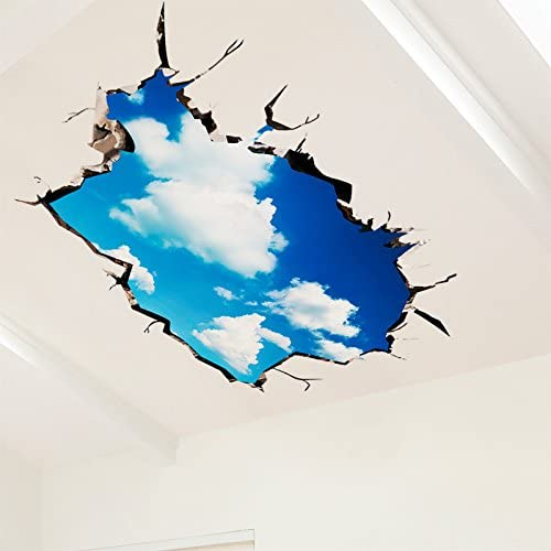 Amazon Com 3d Wall Stickers Posters Roof Roof Ceiling Decorated Living Room Wall Paper Self Adhesive Creative Days Blank Cloud Home Kitchen