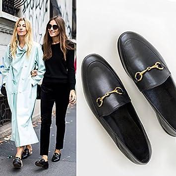 Xue Qiqi Zapatos de Corte Retro Negro Dos Vestidos Hebilla Metal Plano Zapatos de Mujer Zapatos Pequeños Zapatos Medios Zapatillas: Amazon.es: Deportes y ...