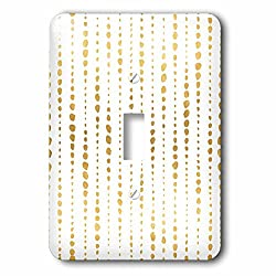 3dRose Anne Marie Baugh - Patterns - Gold and White Irregular Dot Stripes Pattern - Light Switch Covers - single toggle switch (lsp_252822_1)