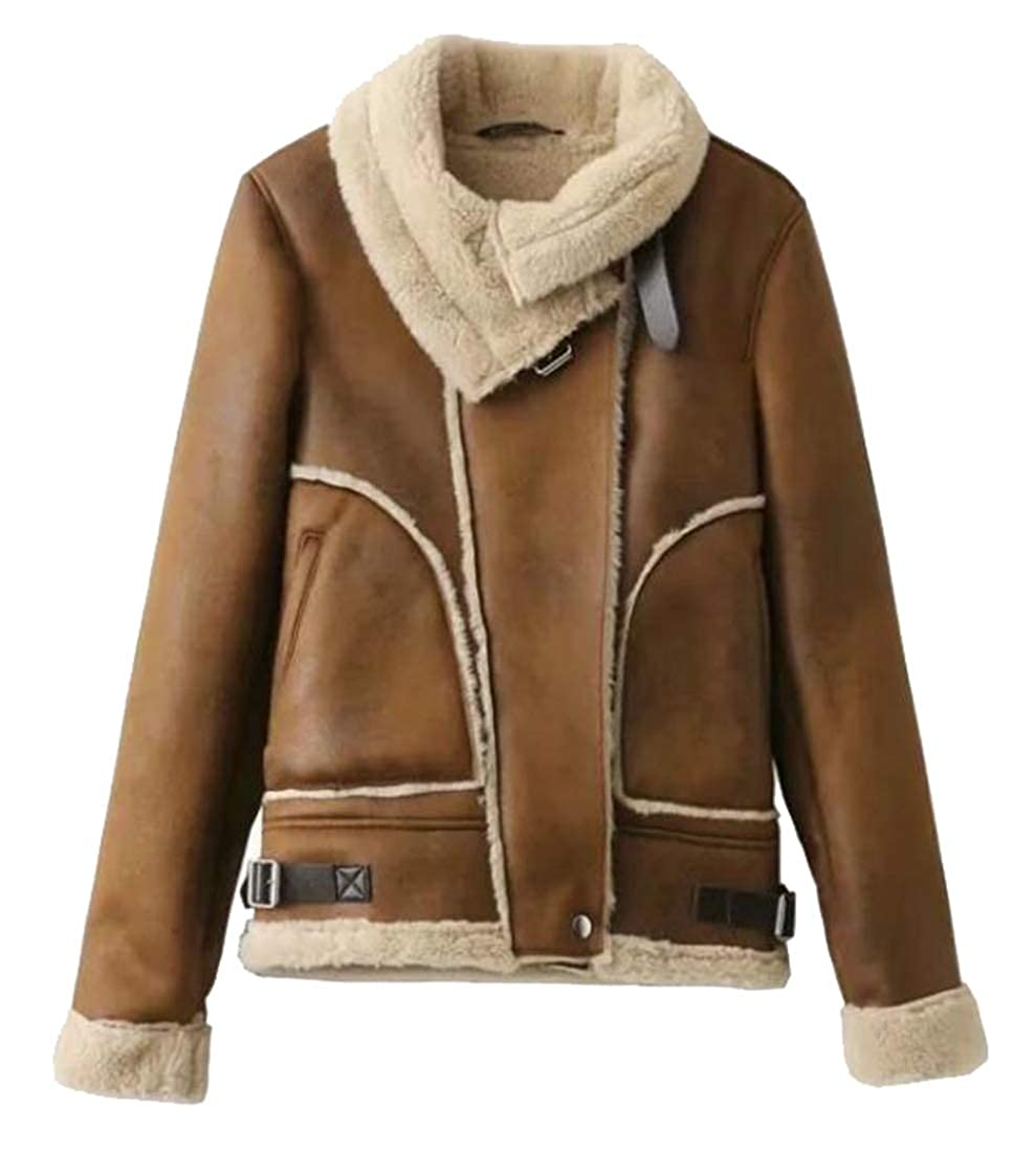1 Generic Women's Autumn Fluffy SherpaLined Faux Leather Bomber Moto Biker Jacket