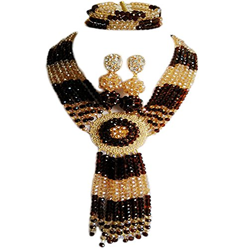 Nigerian Wedding African Brown and Gold Champagne Crystal Beads C-Chain Necklace Bride Jewelry Sets (Trading Company Costume Jewelry)