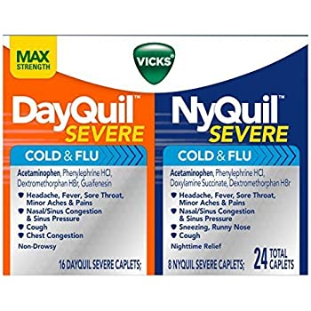 Vicks NyQuil and DayQuil SEVERE Cough Cold and Flu Relief,  24 Caplets (16 DayQuil + 8 NyQuil)