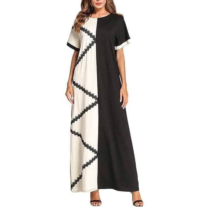 Zhuhaitf Diseño Simple Batas Musulmanas Maxi Vestido Largo Marroquí Kaftans/Abaya Vestidos para Mujeres Verano: Amazon.es: Ropa y accesorios