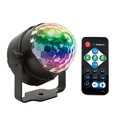 Disco Lights Ball,Sound Activated Party Lights Projector LED 7 Colors Disco Ball DJ Lights Strobe Lights Disco Party Lights Show for Dance Karaoke DJ Bar Wedding Show (with Remote) by KOOT (Image #5)'