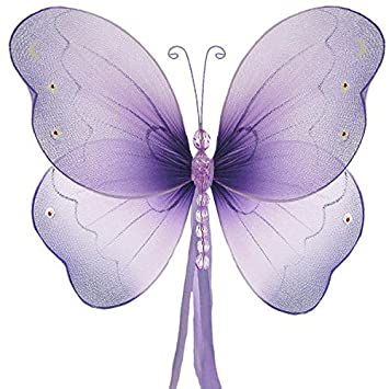 The Butterfly Grove Briana Butterfly Decoration 3D Hanging Mesh Nylon Decor, Magenta Hibiscus, Medium, 11x 7 11x 7 brie-dpk-11