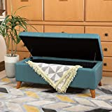 Etoney Mid Century Modern Fabric Storage Ottoman (Teal)