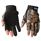 Isafish Fishing Hunting Gloves Camouflage Color Fingerless Gloves Breathable Anti-Slip Waterproof Gloves Outdoor Sun Protection Gloves