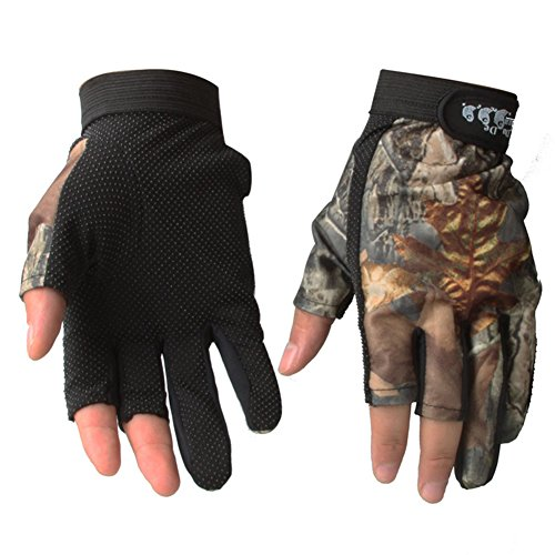 Isafish Fishing Hunting Gloves 3 Cut Finger Anti-slip Camouflage Color Breathable Waterproof...